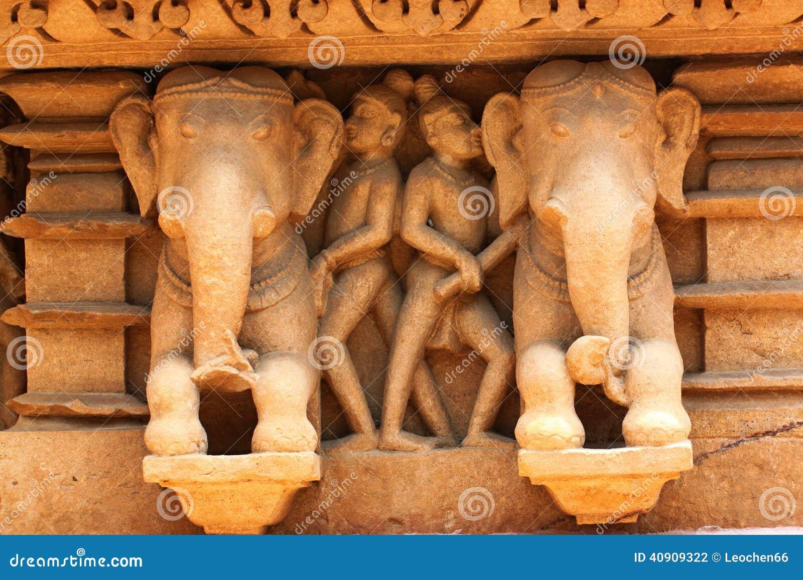 Khajuraho-Tempel und ihre erotischen Skulpturen, Indien