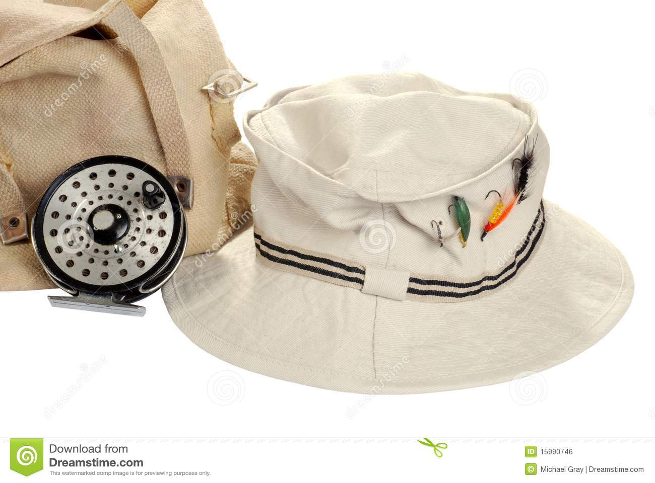 Khaki hat with fly fishing equipment royalty free stock for How to get free fishing gear