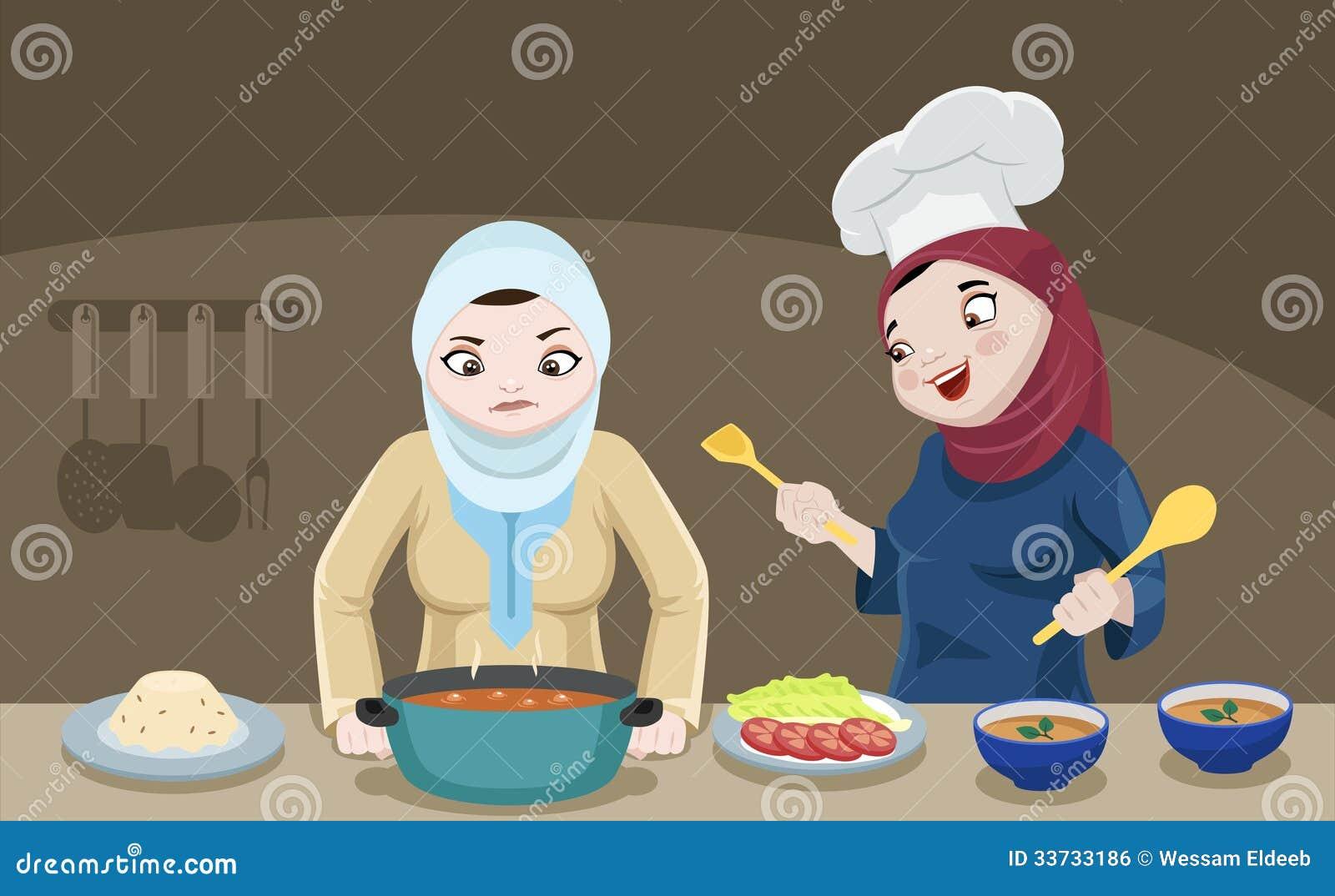 Дамы Khaliji в кухне