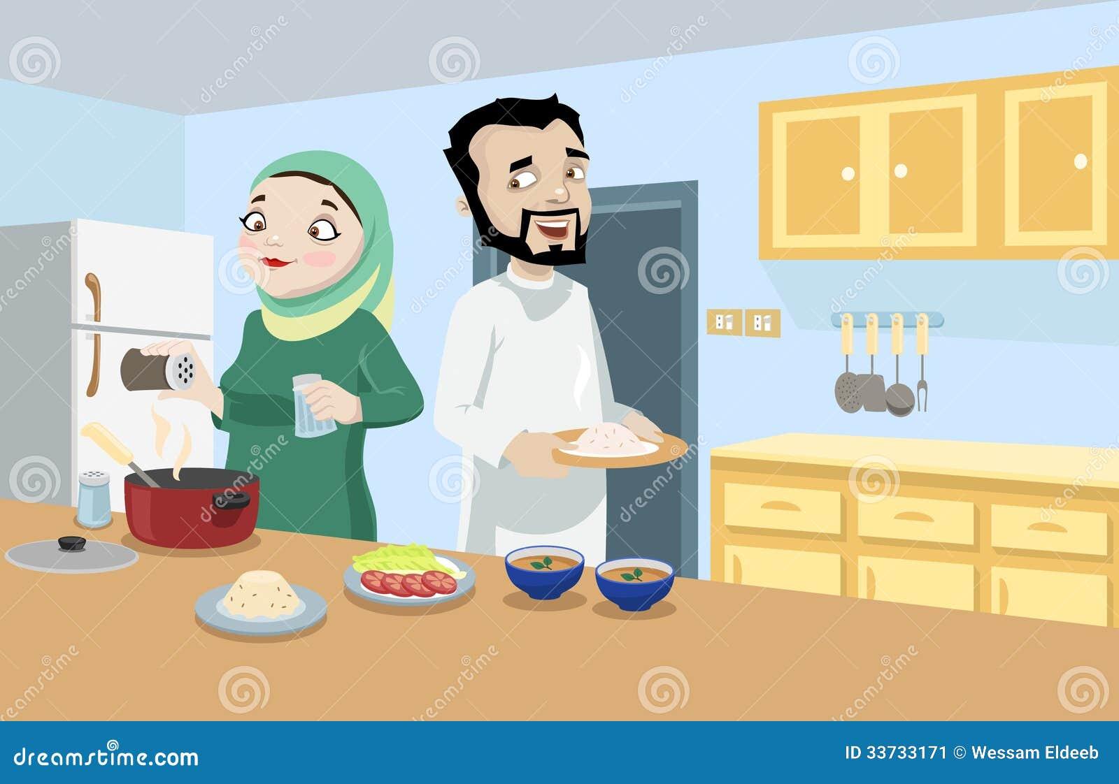Khaliji Couple In The Kitchen Stock Image Image 33733171