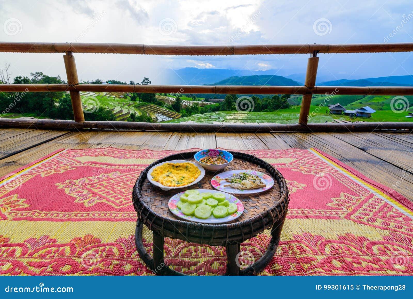 Khantok (food tray) Thai food traditionally dinner for homestay