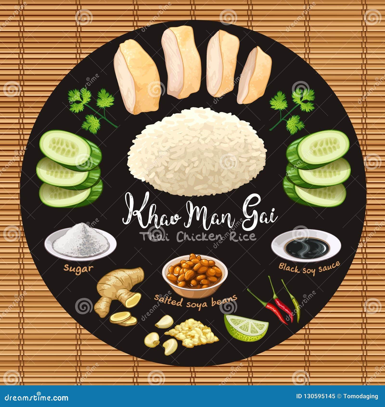 Khao mężczyzny gai kurczaka tajlandzcy stylowi ryż z składnikami