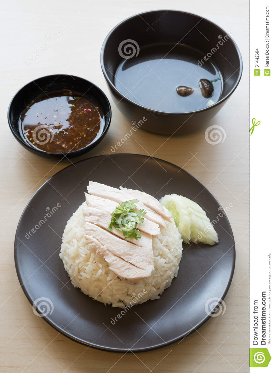 Khao Mun Kai , Thai Food Steamed Chicken With Rice. Stock ...