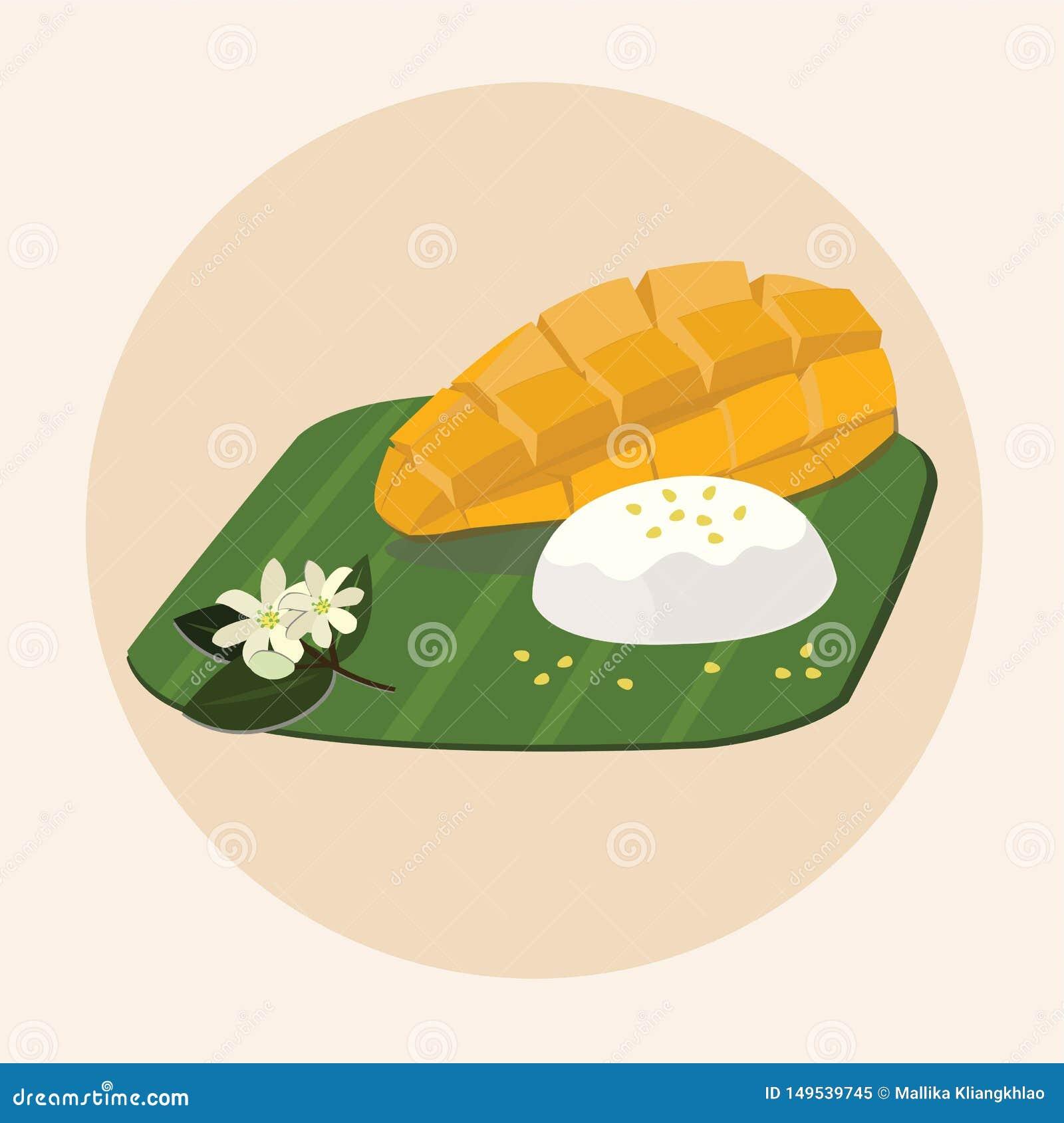 Khao Niew μΑ Muang - ταϊλανδικό γλυκό κολλώδες ρύζι με το μάγκο