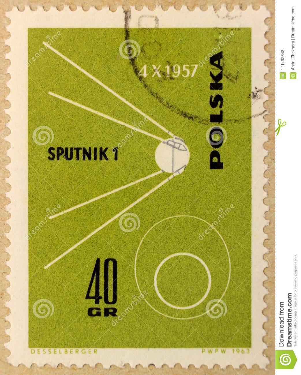 Old post stamp of Poland, dedicated to space exploration and first satellites.