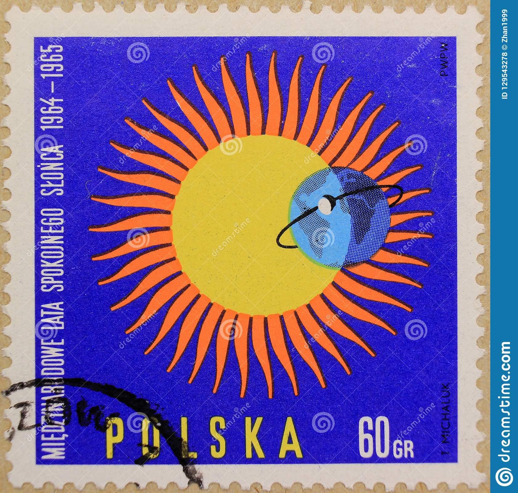 Postal stamp of Poland, dedicated to The Year of the Quiet Sun