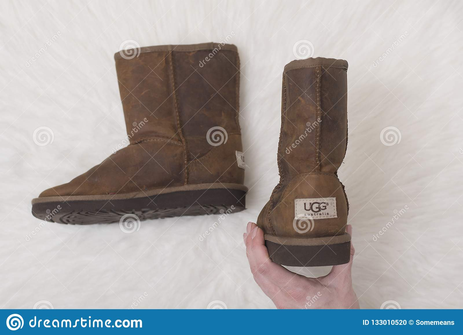 KHARKOV, UKRAINE- NOVEMBER 07 2018: Winter brown boots UGG in f