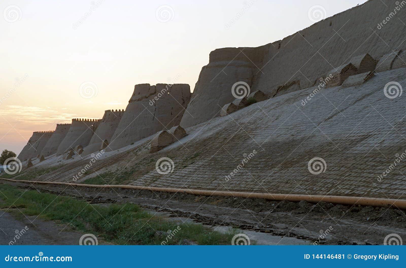 Walls of Khiva's Itchan Kala at sunset, Uzbekistan