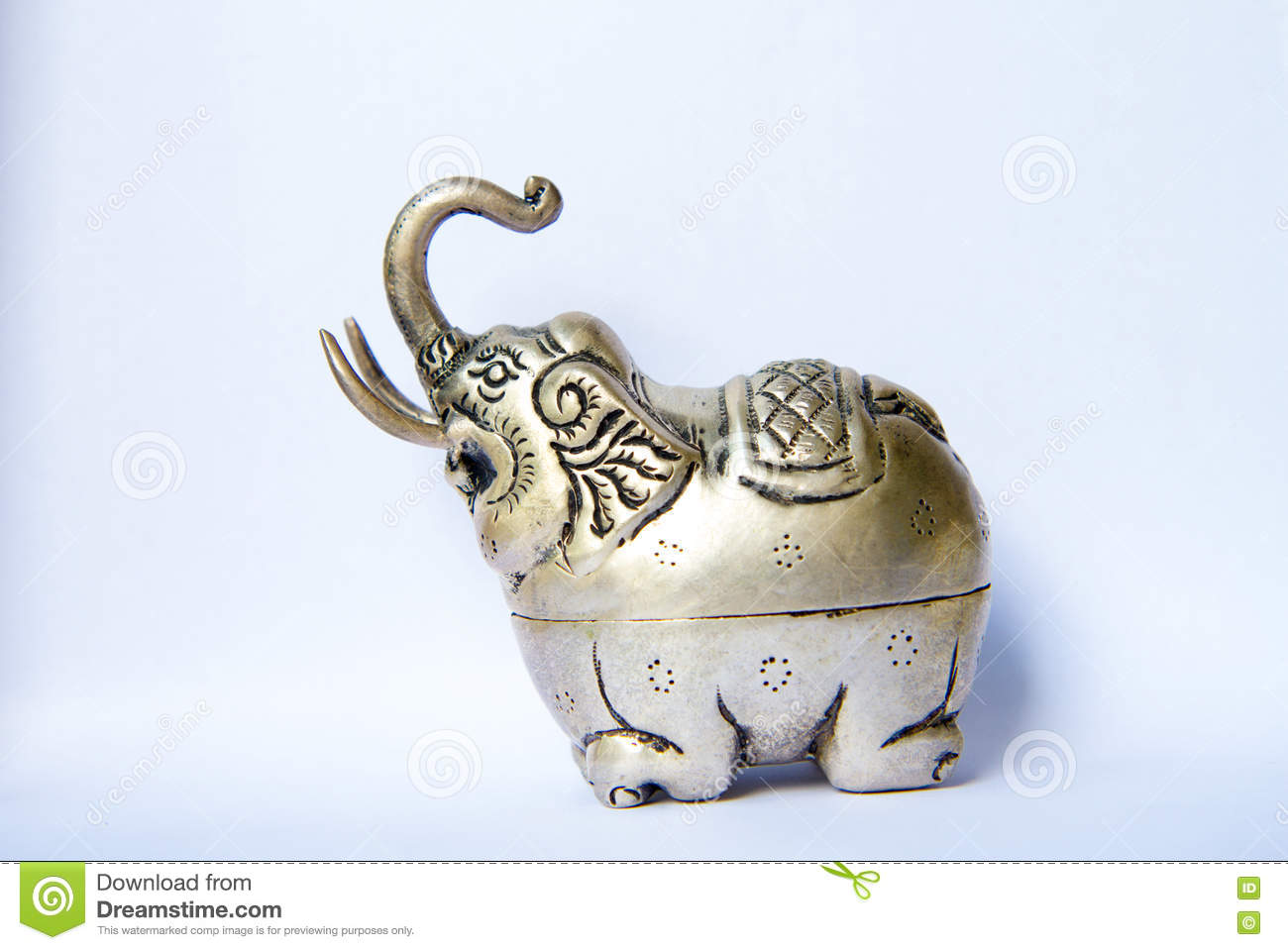 Khmer Silver Elephant Shaped Box The Elephant Raised Trunksymbol