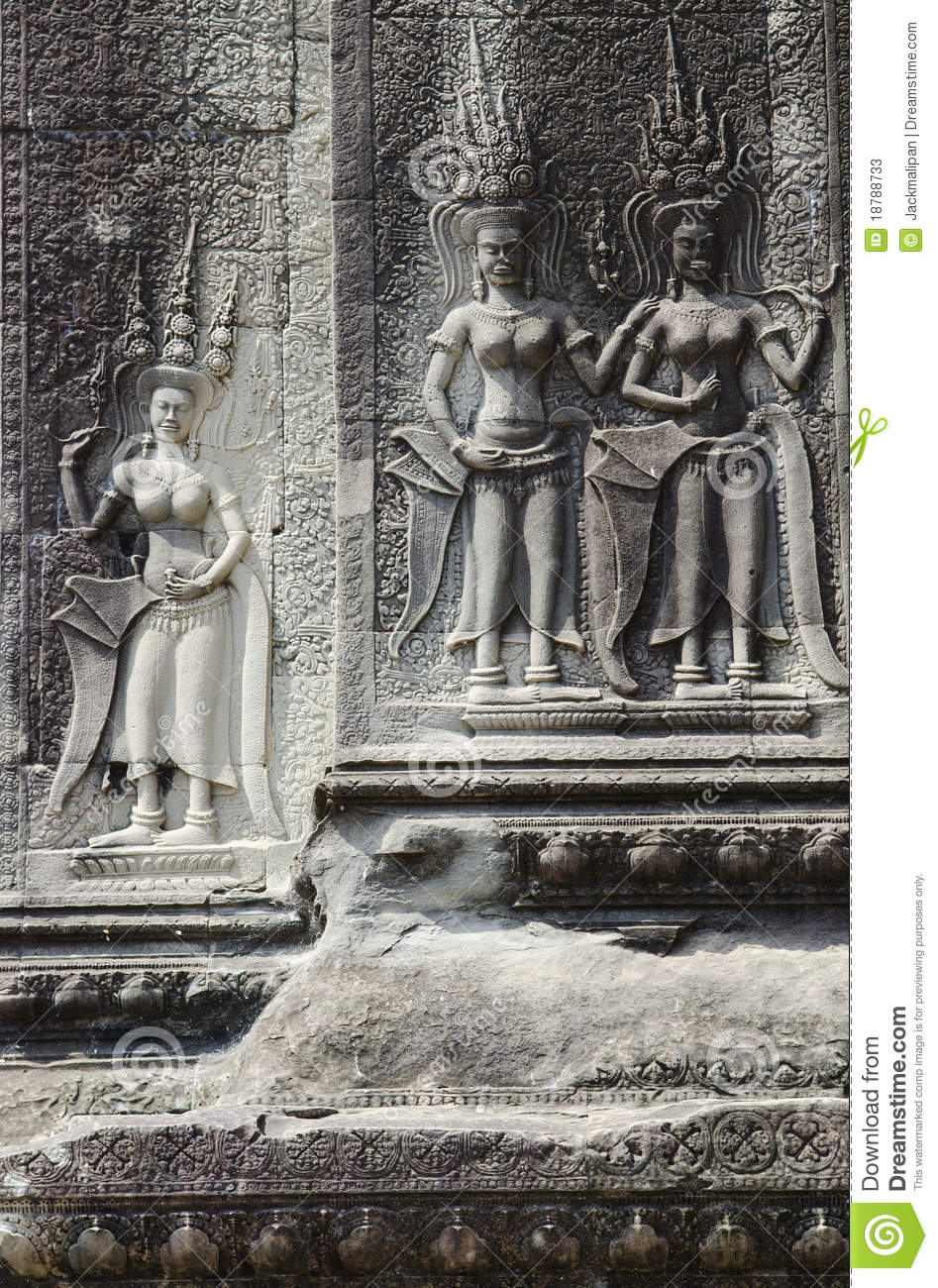 Khmer stone carvings angkor wat cambodia stock photos