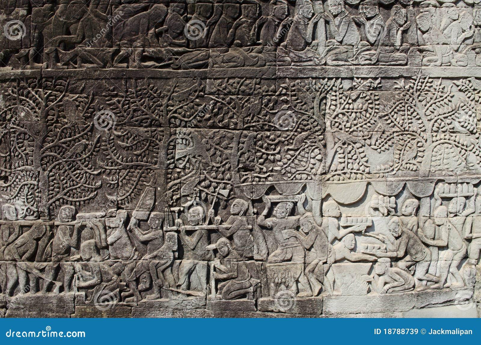 Khmer stone carvings angkor wat cambodia royalty free