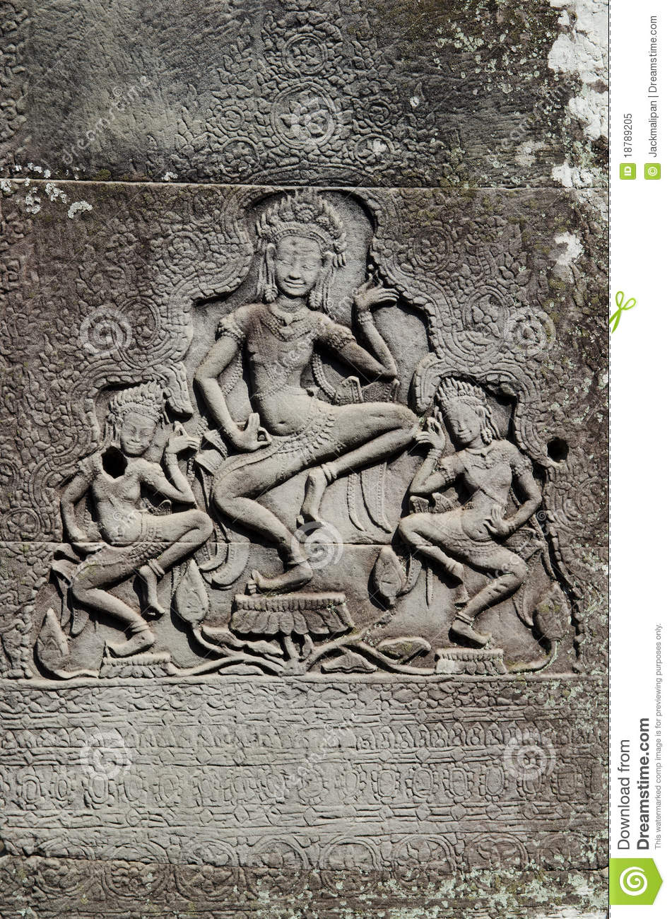 Khmer stone carvings angkor wat cambodia royalty free