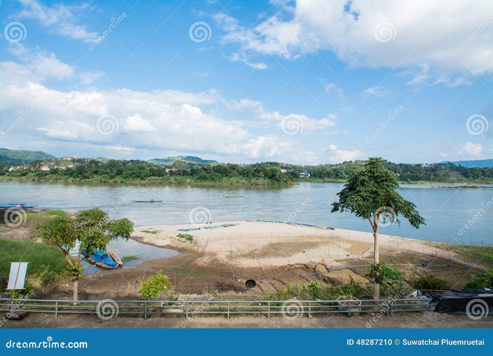 Chiang Khong (Chiang Rai) Thailand  city photos : Khong river with bluesky ,Chiangkhong in Chiangrai ,Thailand.