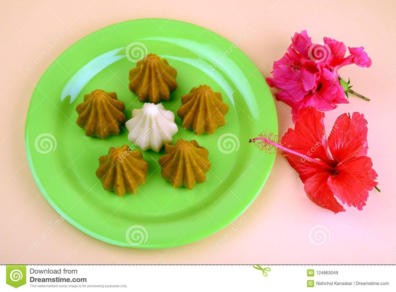 Khoya Modak With Red Hibiscus Flower An Indian Traditional Sweet