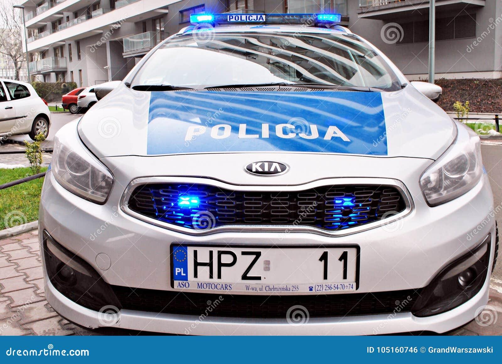 האחרון Kia Seed Polish Police Car At The City Street. Editorial Photo QG-46