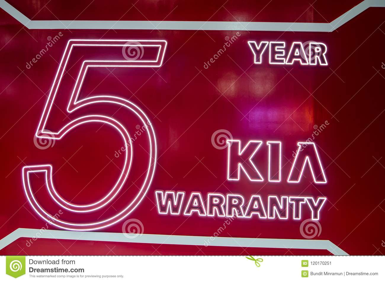 Kia 5 Year Warranty Motor Company Logo Editorial Photo Image Of