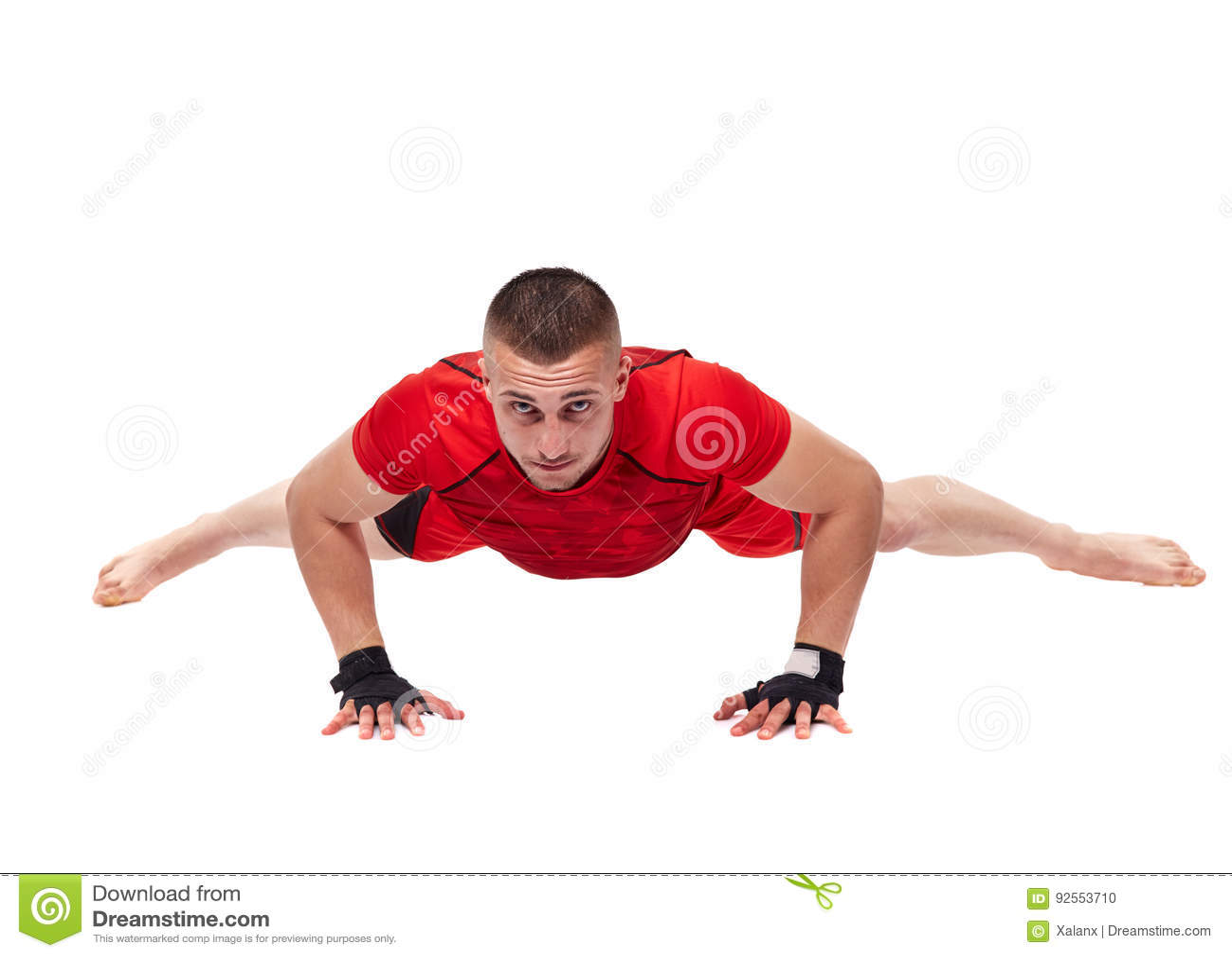 Kickbox fighter stretching