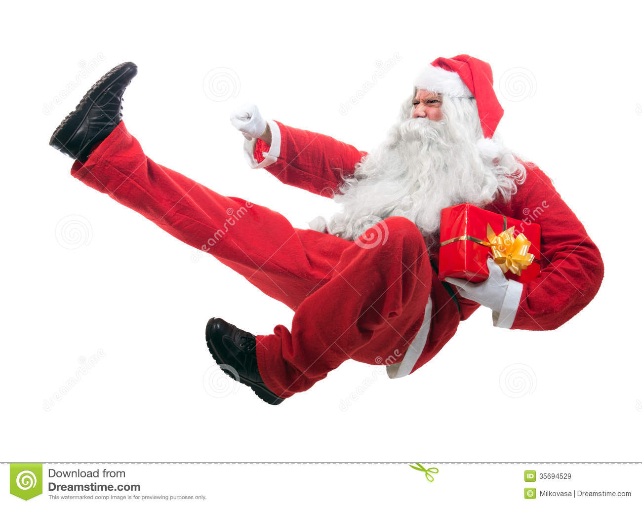 Kickboxing Santa Claus Royalty Free Stock Image