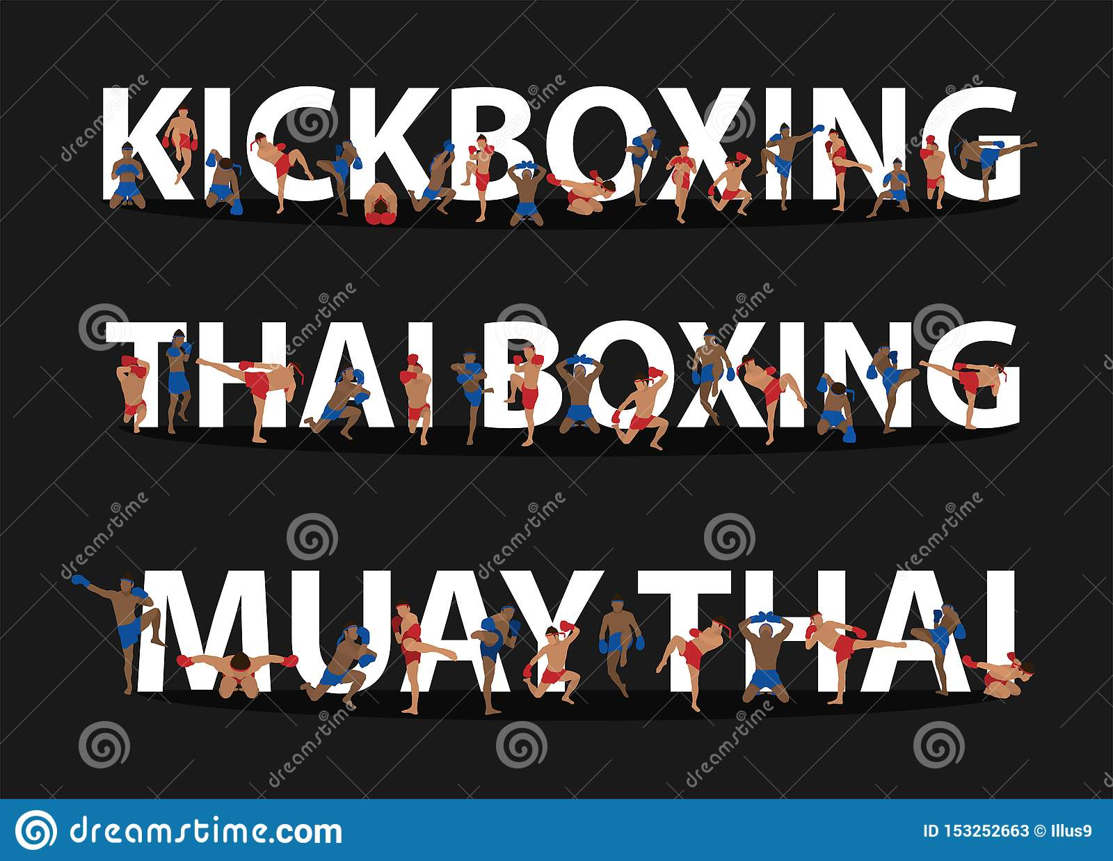 Kickboxing, Thai Boxing, Muay Thai Action On Flat Big Letters Ideas