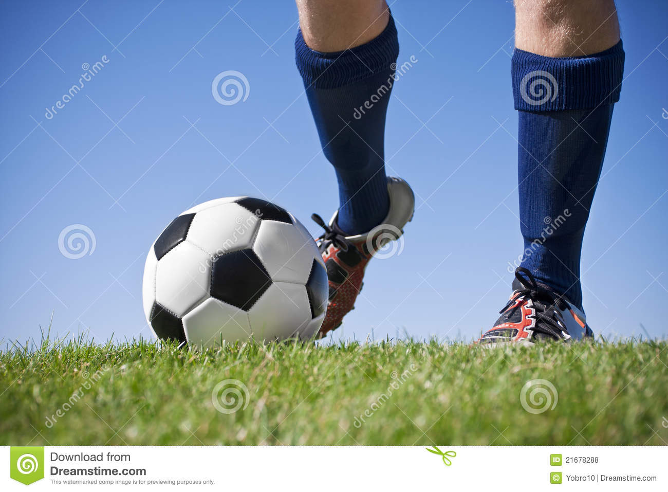 Kicking the soccer ball