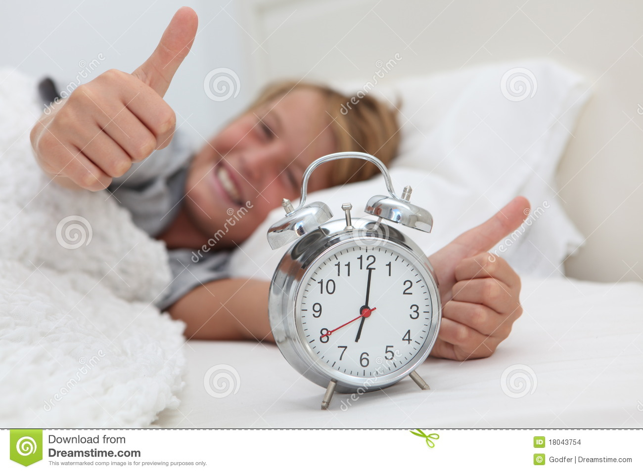 Kid With Alarm Clock Stock Images Image 18043754