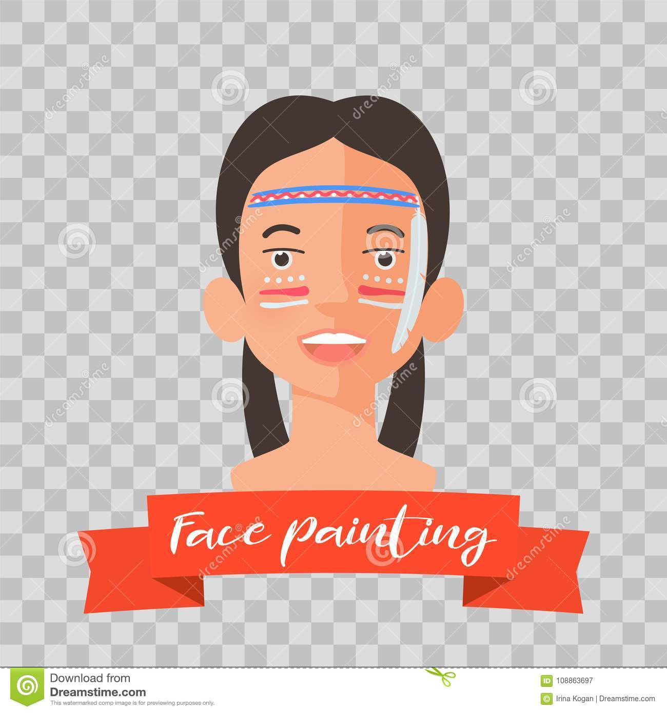 Kid With Indian Face Painting Vector Illustrations Stock Vector