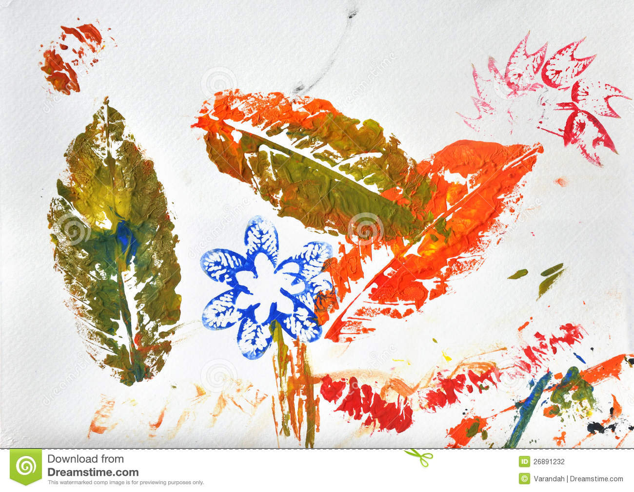 kid art s autumn leaf paint prints stock photography - Kid Prints