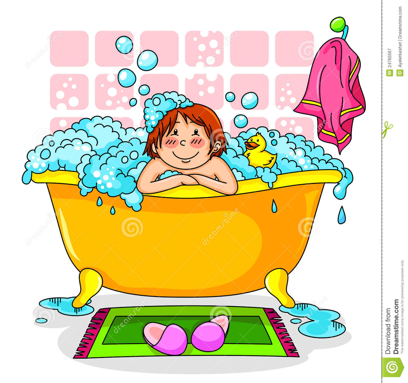 Kid in the bath stock vector. Illustration of cheerful - 24765567