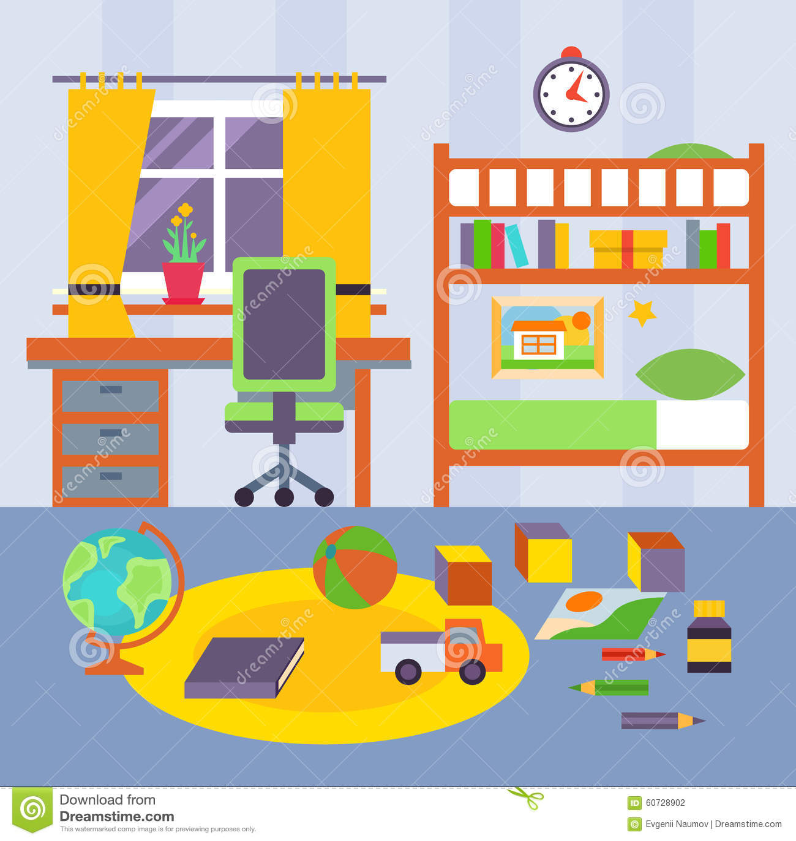 Kid Bedroom. Vector Illustration Stock Vector