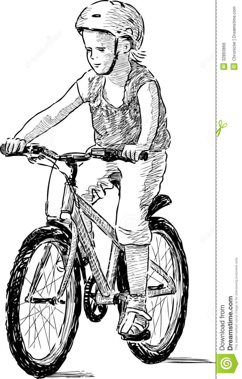 Little Kid Riding A Bike In Black And White