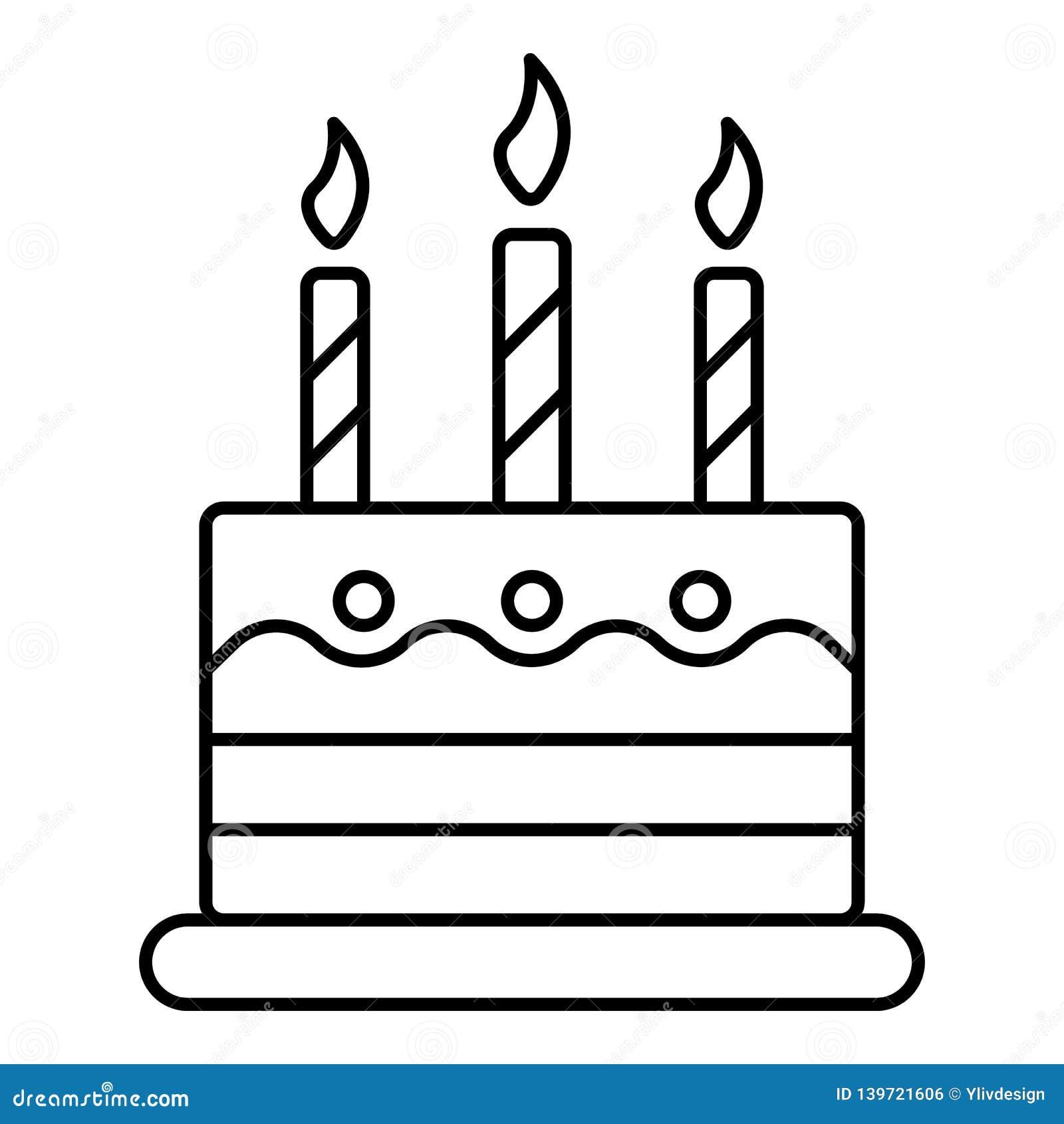 Tremendous Kid Birthday Cake Icon Outline Style Stock Vector Illustration Funny Birthday Cards Online Kookostrdamsfinfo