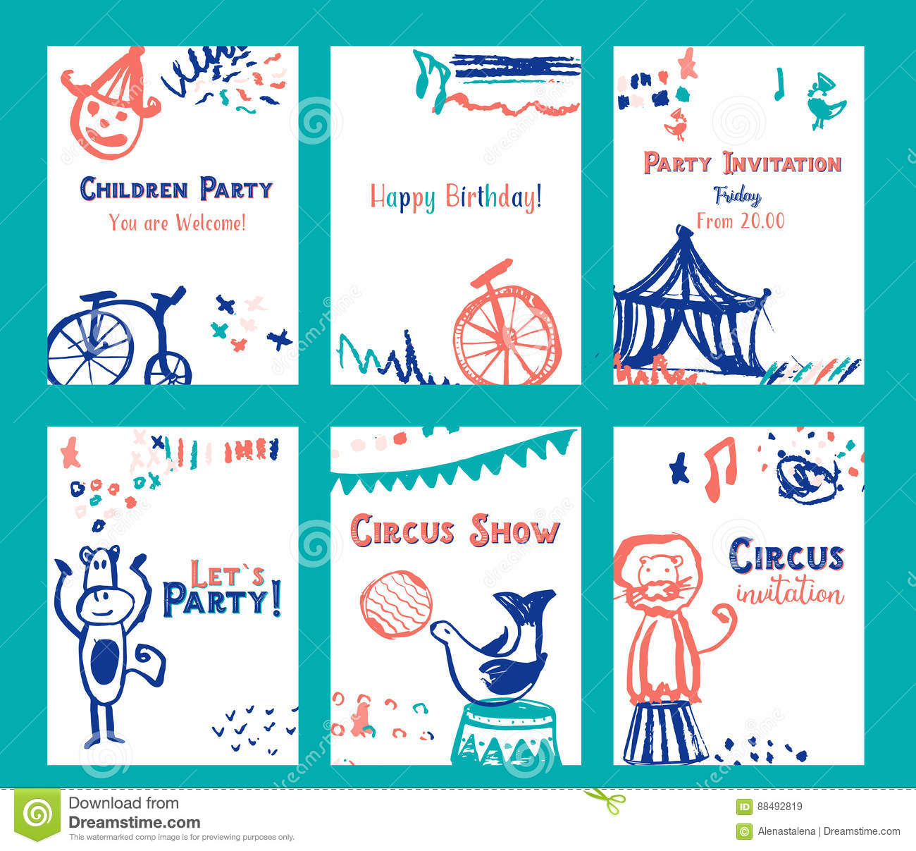 kid birthday invitation card design set with circus elements vector