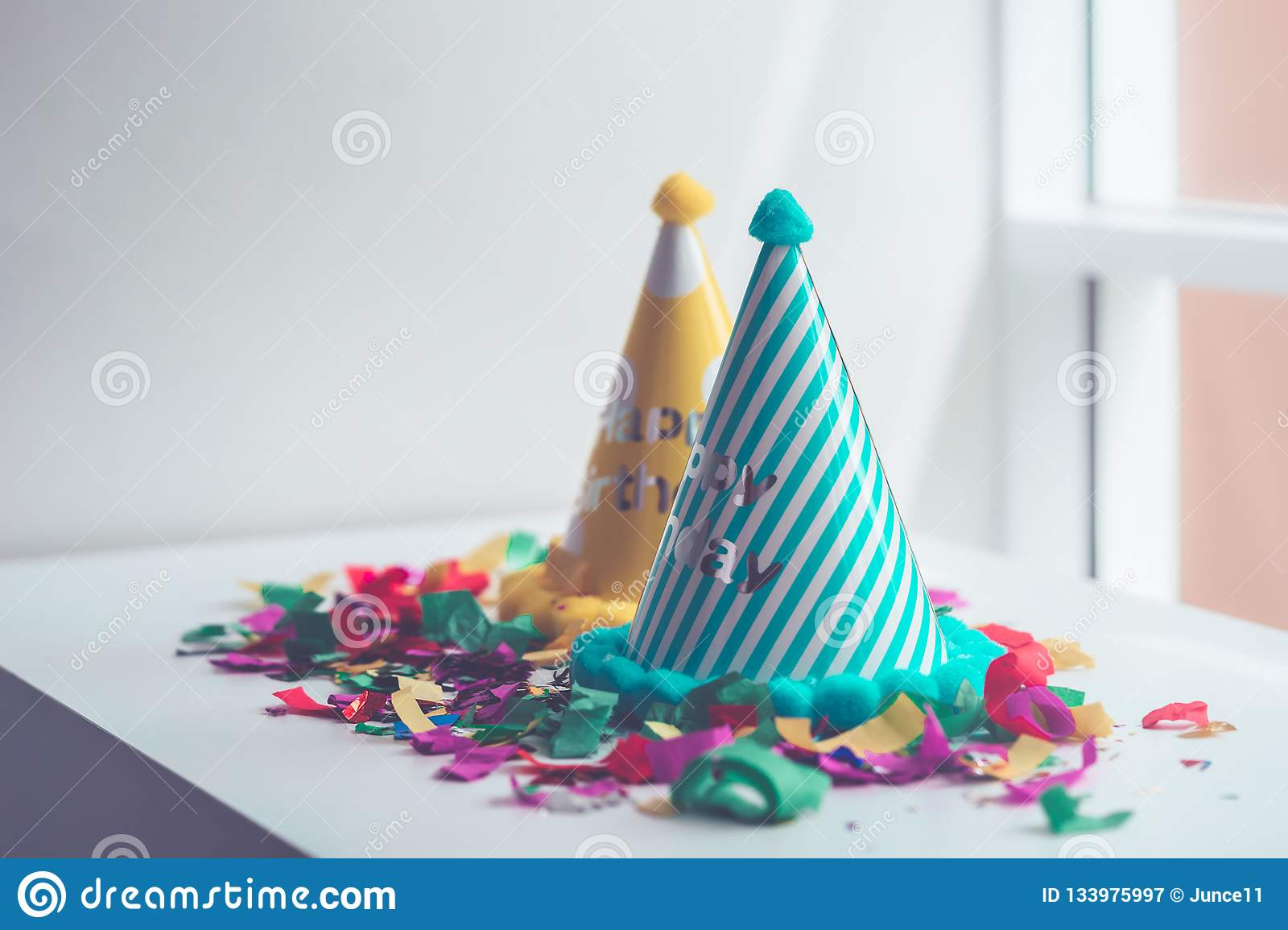 Kid Birthday Party Stuff Set Up Copy Space Stock Image
