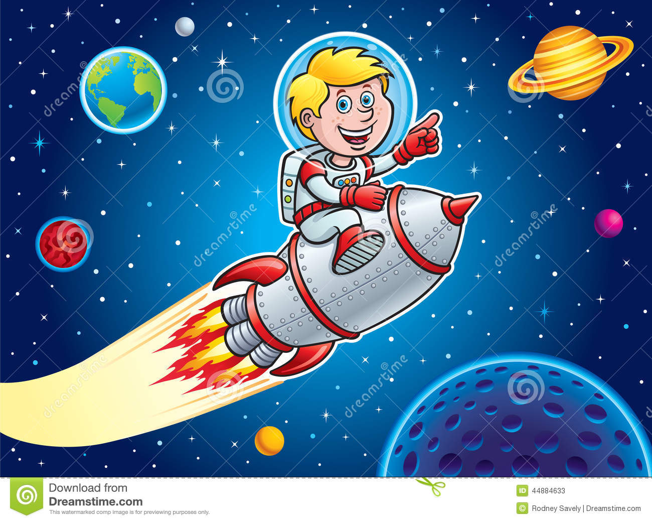 Kid Blasting Through Outer Space Stock Illustration
