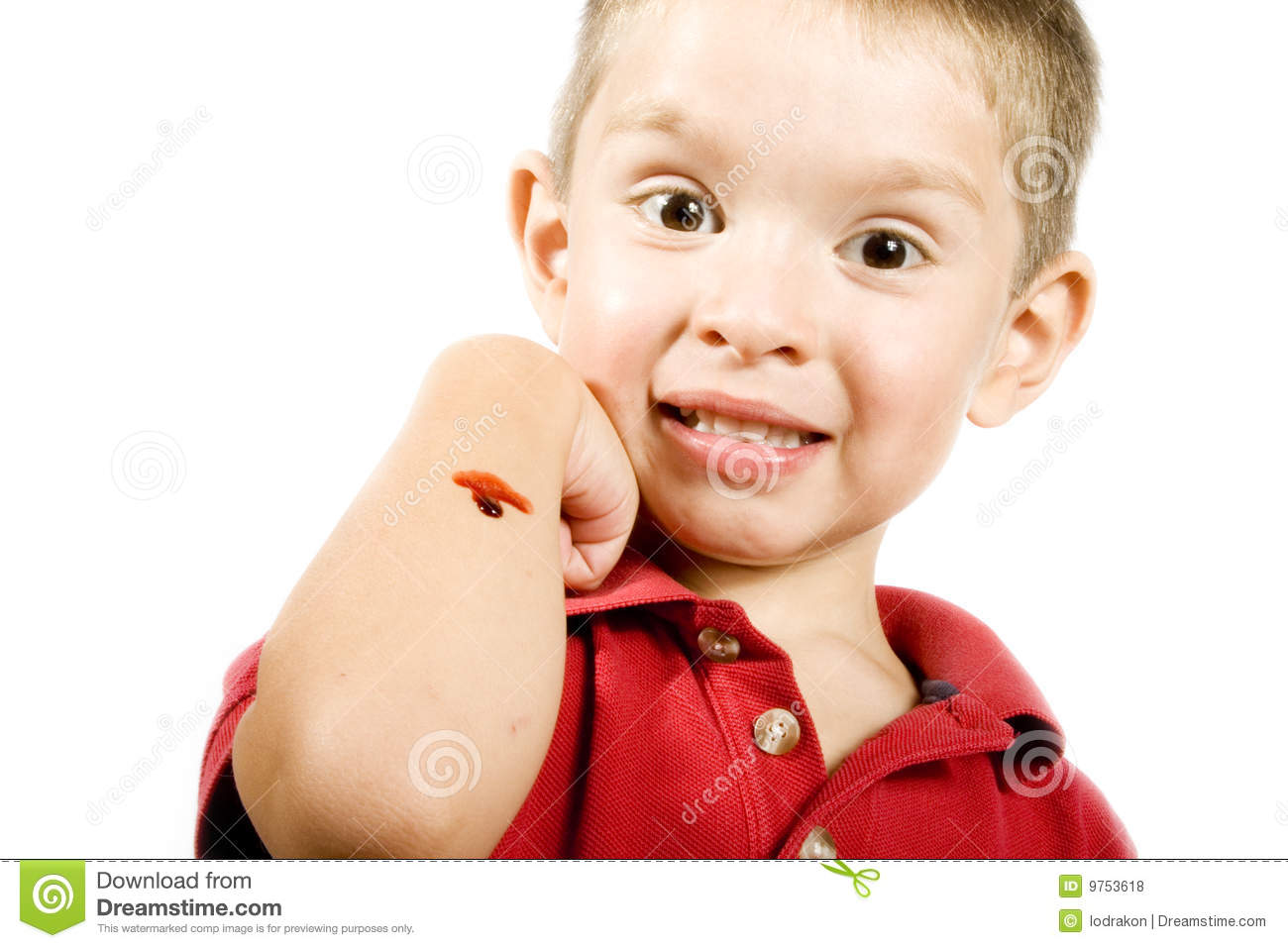 Stock image of little boy with a scrape in his arm, isolated on white.
