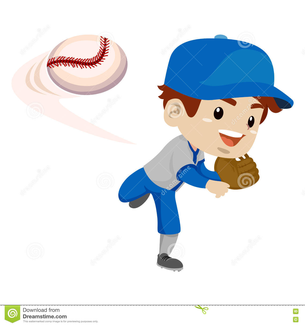 Kid Boy Baseball Player Throwing The Ball Stock Vector ...