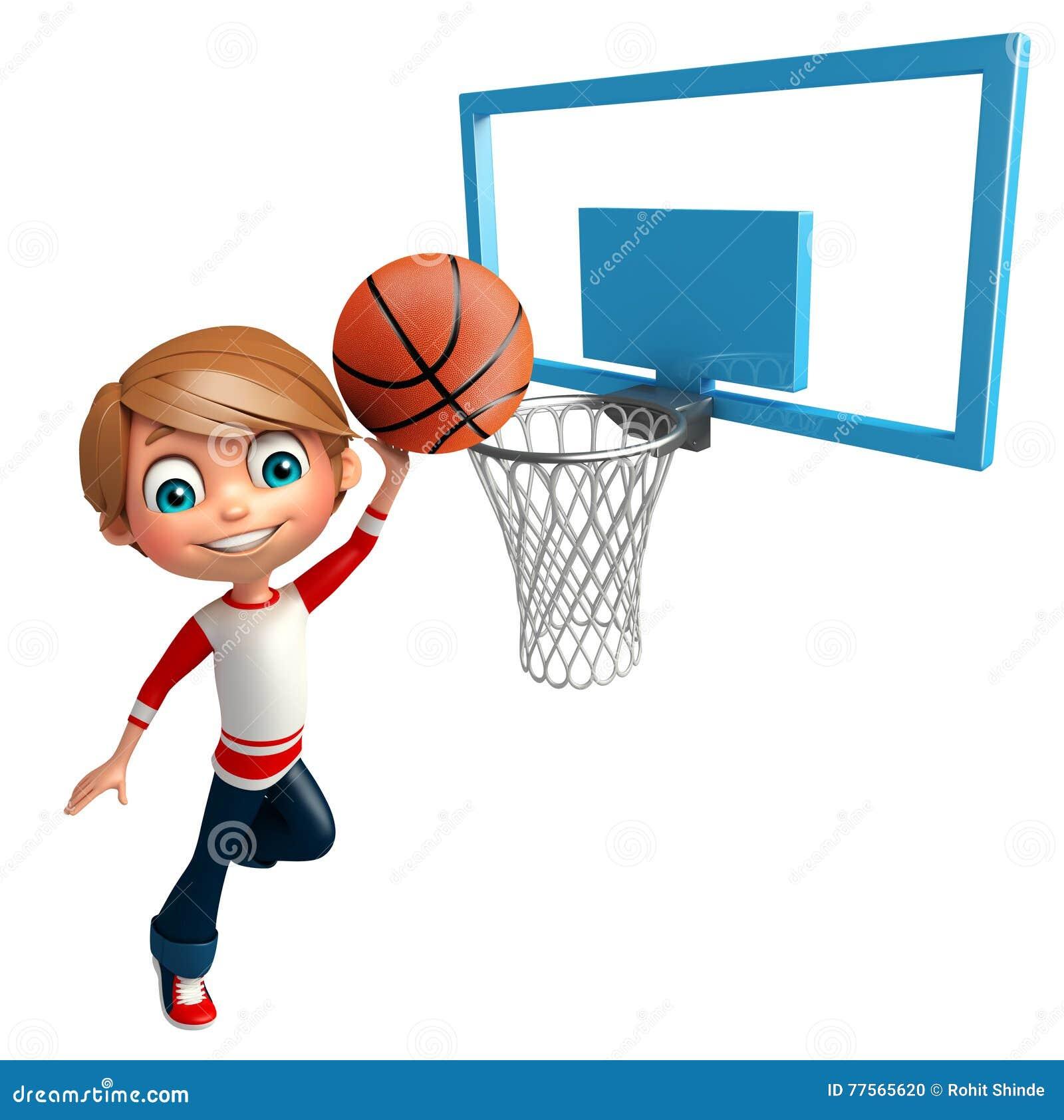 Kid Boy With Basket Ball Net Stock Illustration Illustration of