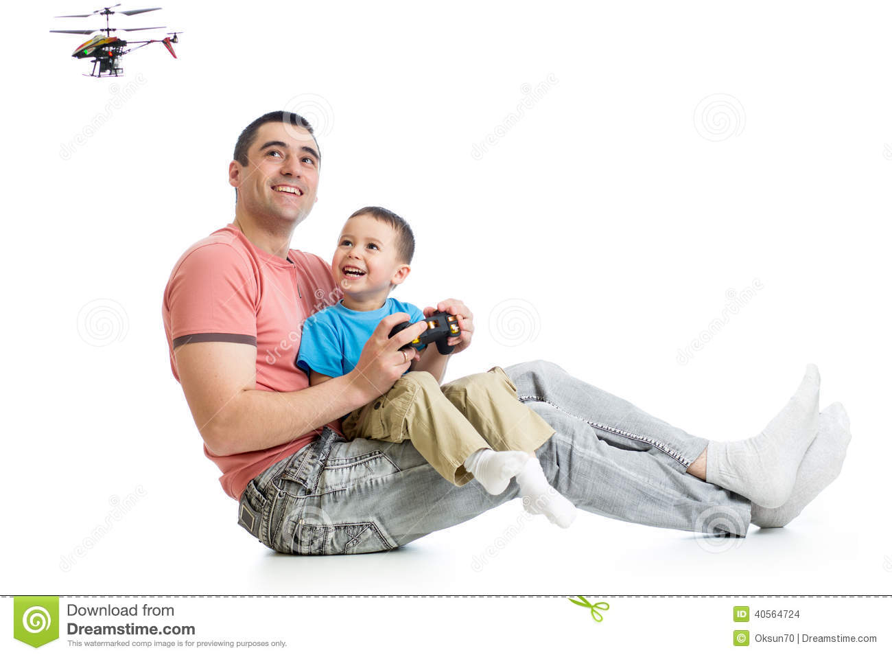 Boy Flying Toy Helicopter Stock Image