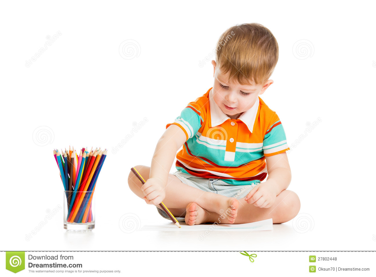 kid boy drawing with colour pencils royalty free stock photos - Colour Kid