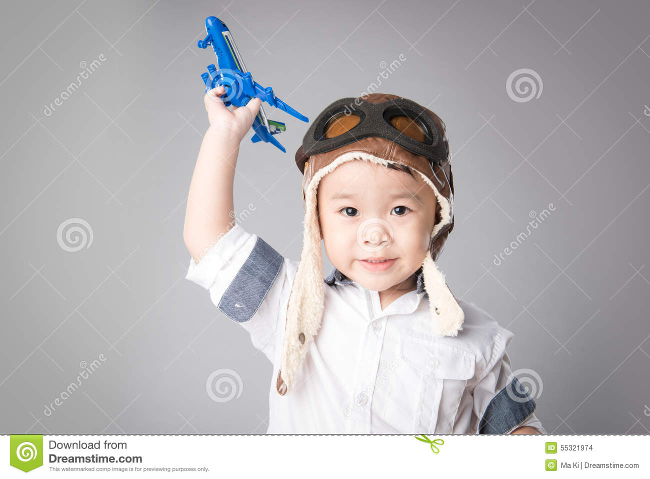 4c7b7544 Kid Boy Dressed Pilot And Playing Wooden Air Plane Toy Stock Photo ...
