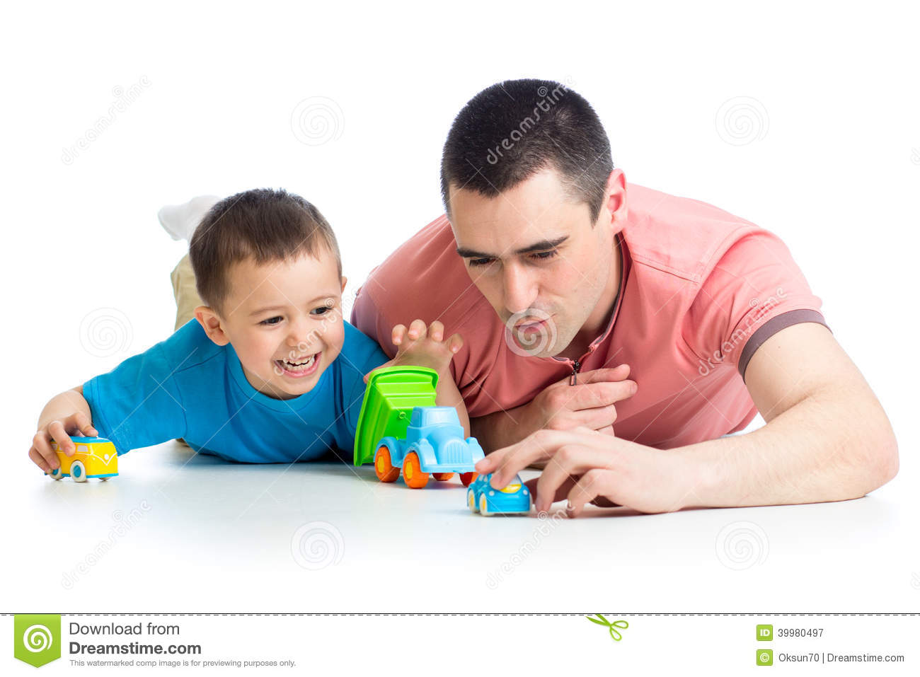 Boy Toys For Dads : Kid boy and father play with car toys stock photo image