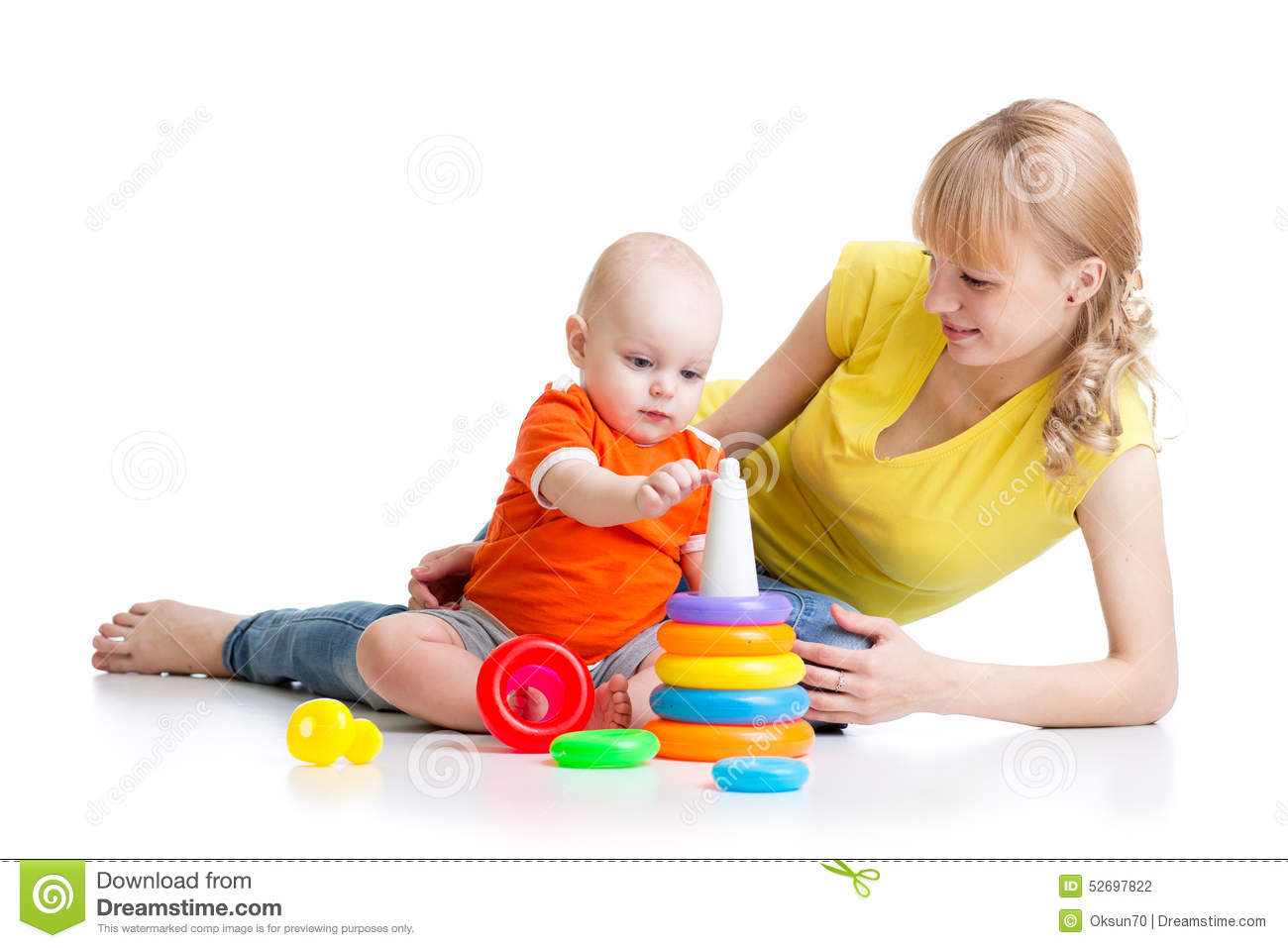 Mom Play Toys : Kid boy and mother play together with toy stock photo