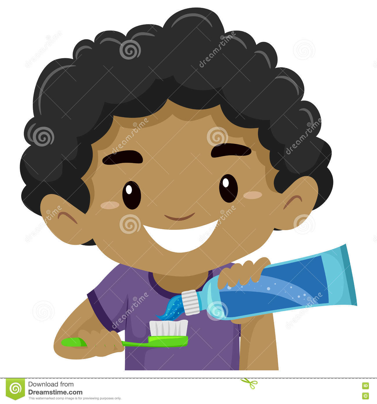 ... Putting Toothpaste On His Toothbrush Stock Vector - Image: 72752169