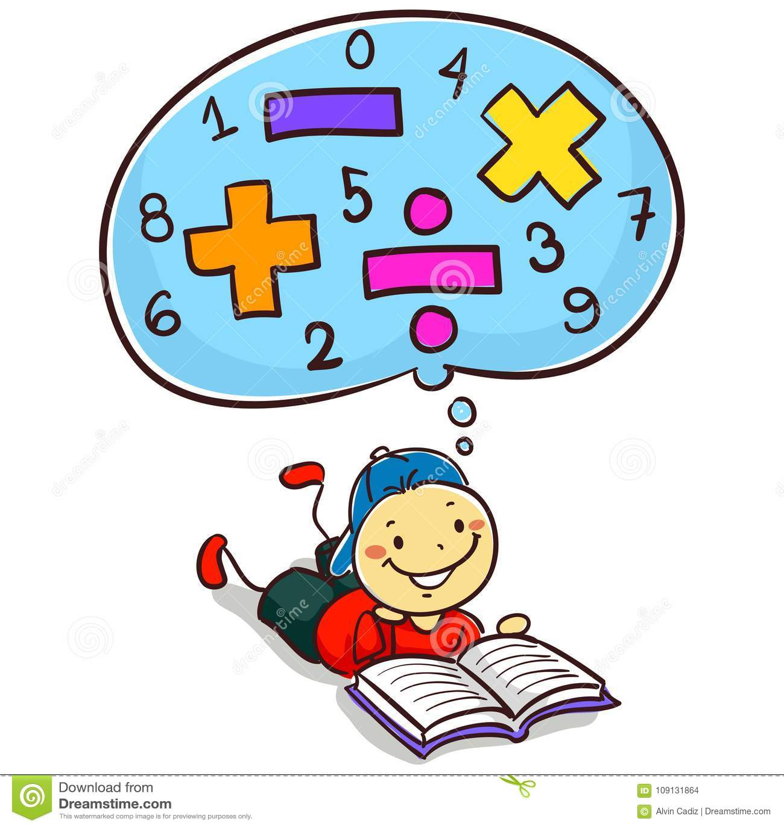 Kid Boy Reading Book About Mathematics Stock Vector - Illustration ...
