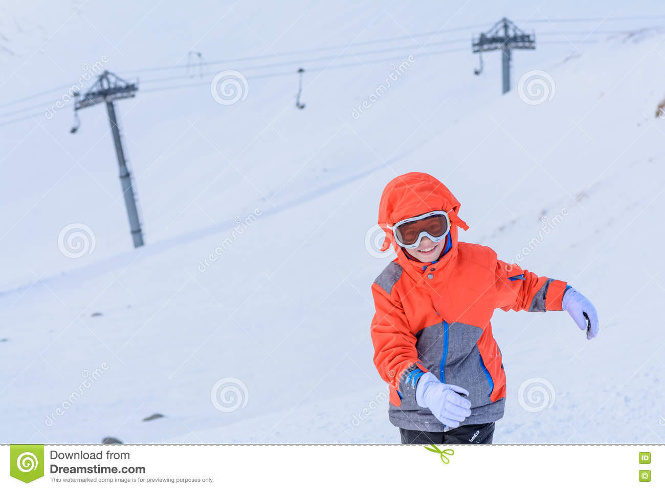 7504c48feda3 Kid Boy Running Along The Road With Snow In Winter. Happy Laughing ...