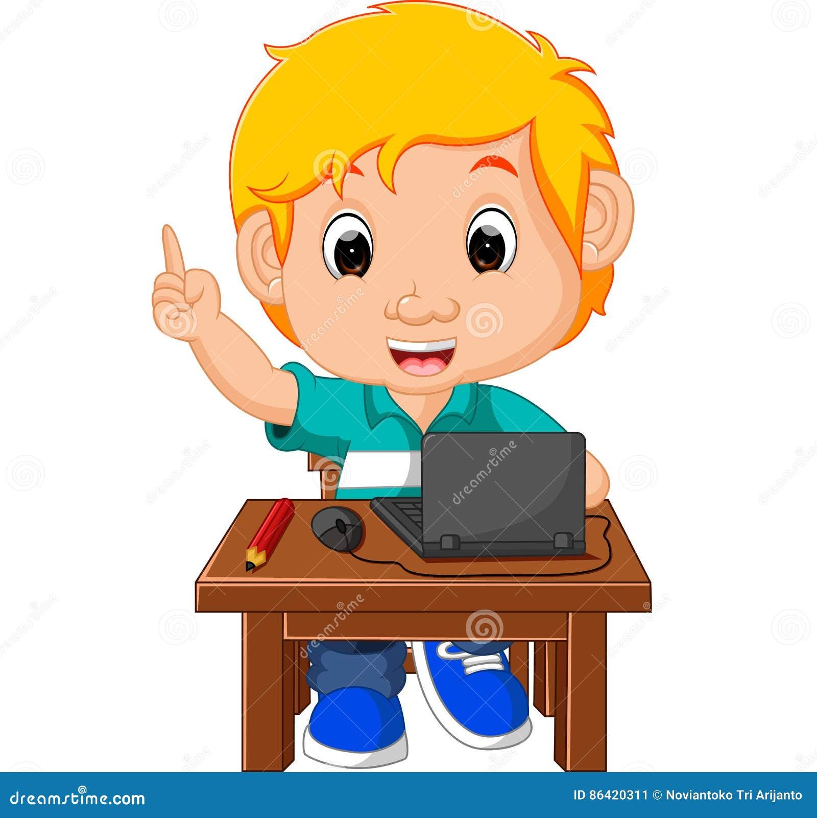 Kid Boy Using The Computer Cartoon Stock Vector