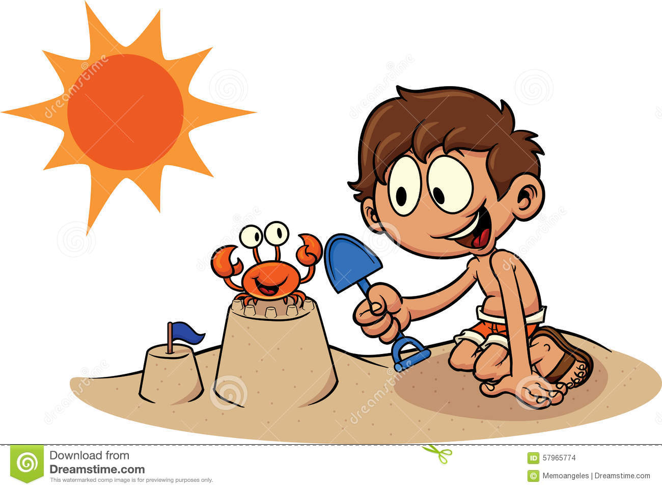 Cartoon kid building a sand castle. Vector clip art illustration. All ...