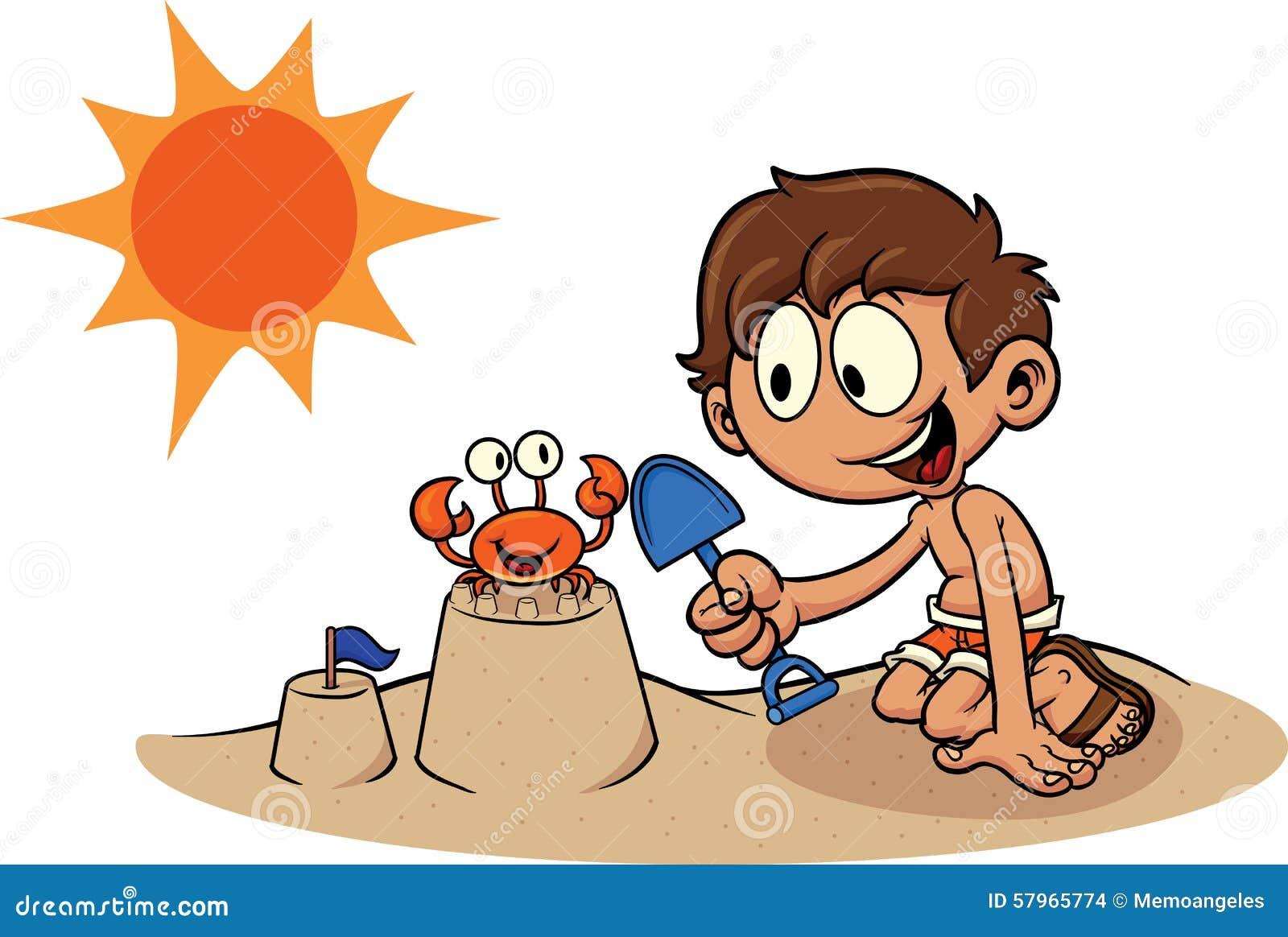 Kid Building A Sand Castle Stock Vector