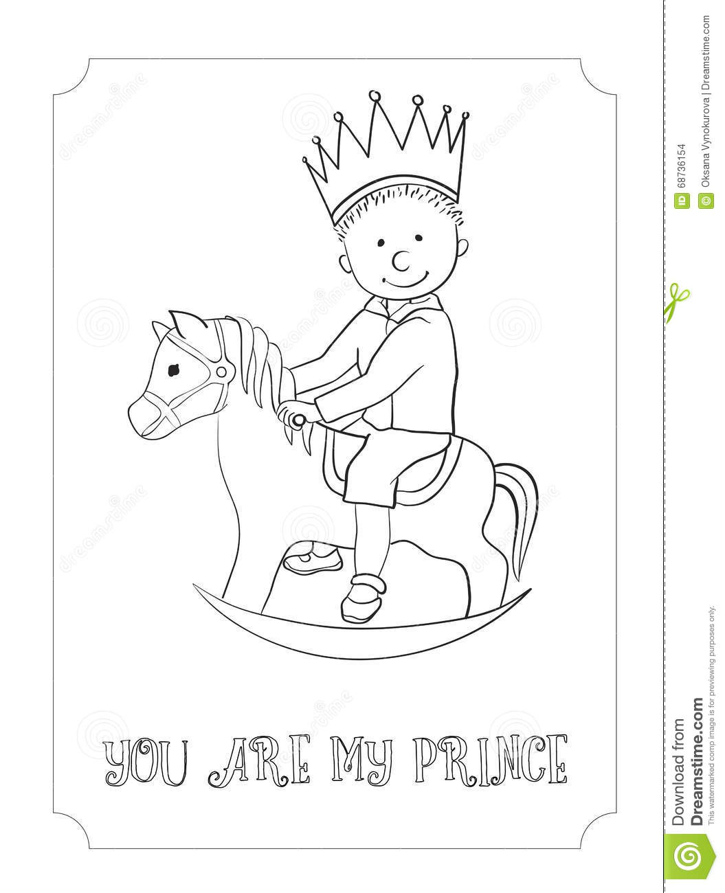 Kid Cartoon Outline Prince Card For Coloring Stock Vector