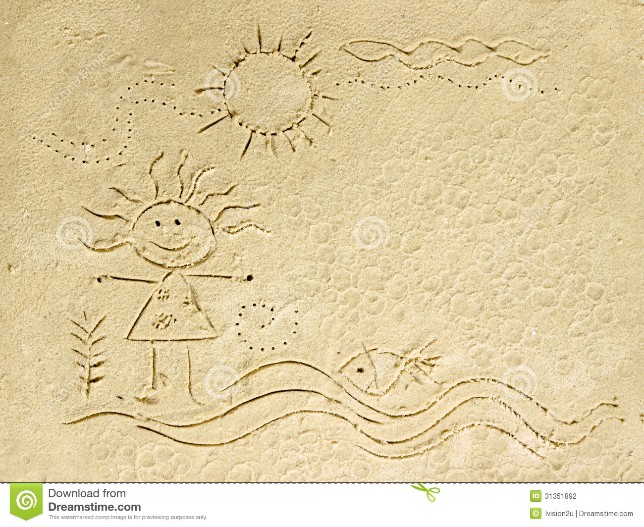 Kid Cartoon On Sand Beach. Stock Photography - Image: 31351892
